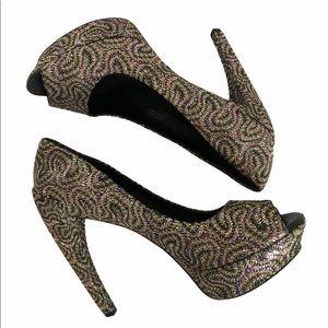 Vera Wang Platform Peep Toe Pumps with Curved Heel
